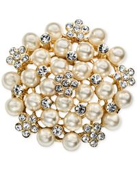 Jones New York - Metallic Gold-Tone Imitation Pearl Cluster Pin - Lyst