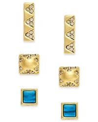 House of Harlow 1960 | Metallic Gold-tone Imitation Turquoise And Pavé Stud Earring Set | Lyst