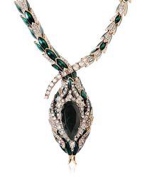 Roberto Cavalli - Green Snake Swarovski Necklace - Lyst