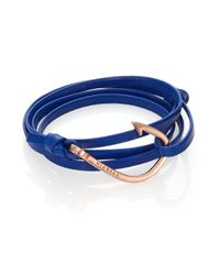 Miansai - Rose Goldtone Hook Leather Bracelet/Blue - Lyst