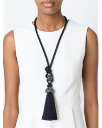 Lanvin | Black Tassel Detail Necklace | Lyst