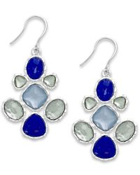 Charter Club | Silver-tone Blue Stone Chandelier Earrings | Lyst