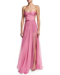 Maria Lucia Hohan - Pink Helga Strapless Pleated Silk Illusion Gown - Lyst