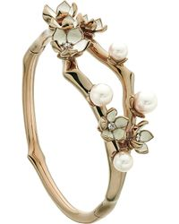 Shaun Leane - Metallic Cherry Blossom Rose-gold Vermeil, Ivory Enamel, Pearl And Diamond Cuff - Lyst