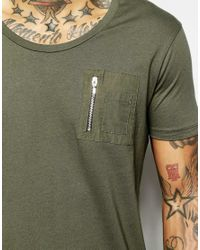 ASOS - Green Super Longline T-shirt With Scoop Neck With Fishtail Hem And Zip Chest Pocket for Men - Lyst