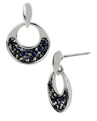 Kenneth Cole | Blue Silvertone Hoop Earrings With Faceted Bead Decoration | Lyst