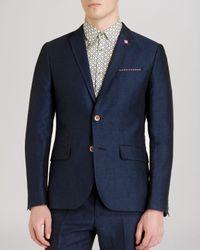 Ted Baker | Blue Niteyes Herringbone Linen Blazer - Regular Fit for Men | Lyst