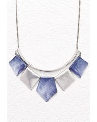 Forever 21 - Blue Marbleized Pendant Statement Necklace - Lyst
