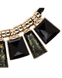 River Island | Black Flecked Stone Necklace | Lyst