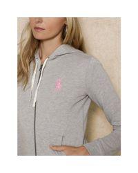 Ralph Lauren - Gray Pink Pony Hooded Jacket - Lyst