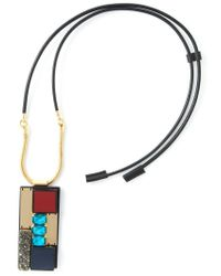 Marni - Black Rectangular Pendant Necklace - Lyst