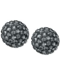 Swarovski | Metallic Silver-tone Hematite Crystal Bubble Stud Earrings | Lyst