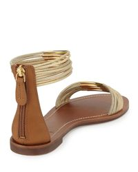 Tory Burch - Metallic Mignon Rings Ankle-Wrap Sandal - Lyst