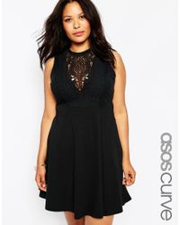 Asos Curve | Black Empire Skater Dress With Lace Bib | Lyst