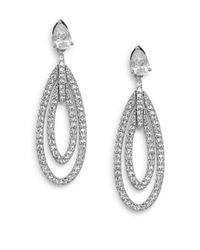 Adriana Orsini   Metallic Novelette White Stone Oval Drop Earrings   Lyst