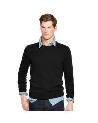 Polo Ralph Lauren - Black Merino Wool Crewneck Sweater for Men - Lyst