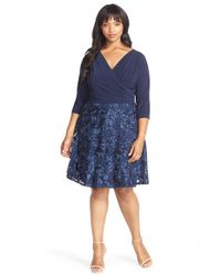 Marina | Blue Mock 2-piece Fit & Flare Dress | Lyst