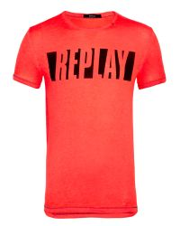 Replay | Orange Jersey Round Neck T-shirt for Men | Lyst