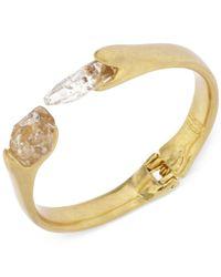 Robert Lee Morris - Metallic Gold-Tone Faceted Beads Hinged Bangle Bracelet - Lyst
