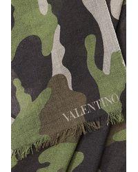 Valentino - Green Camo Print Cashmere-silk Scarf for Men - Lyst