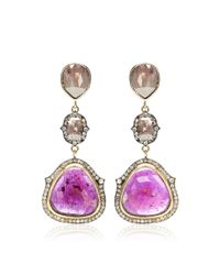 Sylva & Cie - Pink One Of A Kind Triple Stone Drop Earrings - Lyst