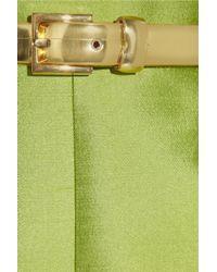 Michael Kors - Green Pleated Silk Blend Shantung Dress - Lyst