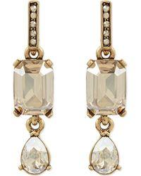 Oscar de la Renta | Metallic Octagon And Pear Stone Drop Earrings - For Women | Lyst