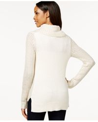 DKNY | White Striped Cowl-neck Sweater | Lyst
