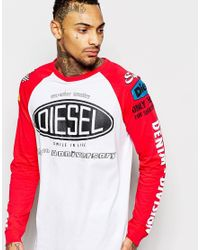 DIESEL | Red Long Sleeve Top Logo Moto Print Raglan for Men | Lyst