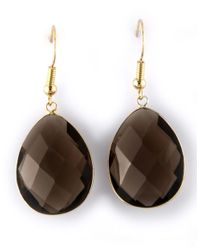 Effy | Metallic Smoky Quartz And 14k Yellow Gold Teardrop Earrings | Lyst