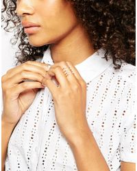 ASOS - Metallic Full Finger Open Ring With Crystals - Lyst