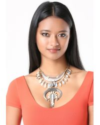 Bebe | Multicolor Large Horn & Drop Necklace | Lyst