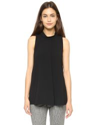 Theory | Admiral Crepe Talniza Blouse - Black | Lyst
