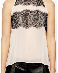 ASOS | Natural Exclusive Cut Away Top with Lace Panels | Lyst