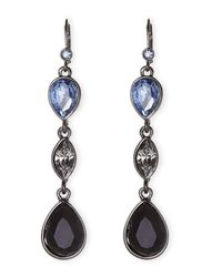 T Tahari | Black Gunmetal Drop Earrings | Lyst