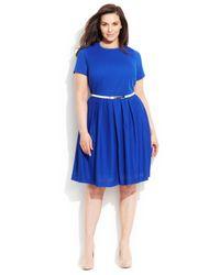 Calvin Klein - Blue Plus Size Textured Belted Dress - Lyst