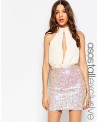 ASOS | Pink Tall Sequin Mini Dress With Plunge | Lyst