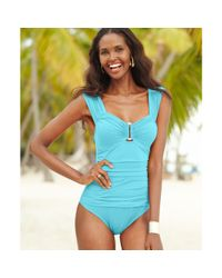 Kenneth Cole | Blue Ruched Hardware Onepiece Swimsuit | Lyst