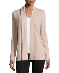Neiman Marcus | Natural Shawl-collar Cashmere Cardigan | Lyst