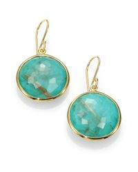 Ippolita | Metallic Lollipop Turquoise, Rutilated Quartz & 18k Yellow Gold Large Doublet Drop Earrings | Lyst