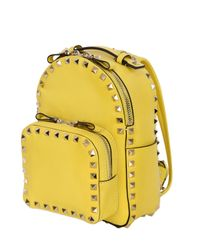 Valentino - Yellow Rockstud Nappa Leather Mini Backpack - Lyst