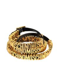 Moschino - Black Double Wrap Lettering Bracelet - Lyst