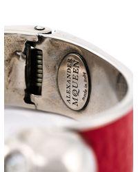 Alexander McQueen   Red Double Skull Bracelet   Lyst