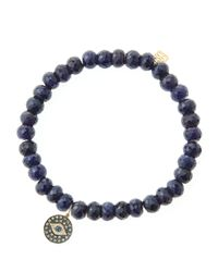 Sydney Evan - Blue 6Mm Faceted Sapphire Beaded Bracelet With 14K Yellow Gold/Diamond Small Evil Eye Charm (Made To Order) - Lyst