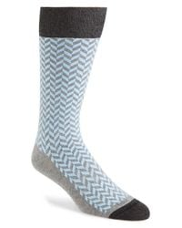 Hook + Albert | Blue Zigzag Socks for Men | Lyst