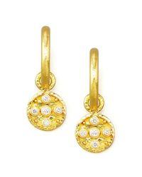 Elizabeth Locke | Metallic 19k Gold Diamond Disc Earring Pendants | Lyst
