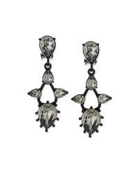 Oscar de la Renta - Black Pear Crystal Drop Clip Earrings - Lyst