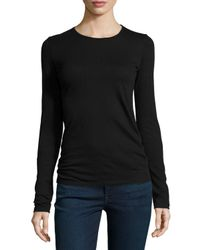 Neiman Marcus - Blue Cotton/cashmere Long-sleeve Crewneck Top - Lyst