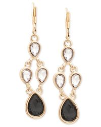 Tahari | Metallic T Gold-tone Crystal And Black Stone Chandelier Earrings | Lyst