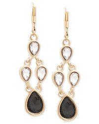 Tahari - Metallic T Gold-tone Crystal And Black Stone Chandelier Earrings - Lyst